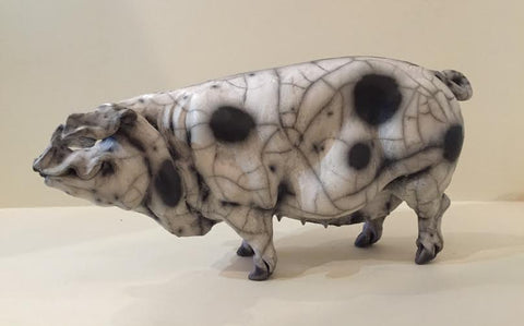 Shirley Ceramic Gloucester Old Spot Pig Original by Christine Cummings *SOLD*