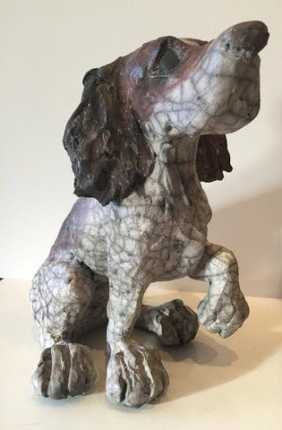 Toby - Sitting Ceramic Dog Original by Christine Cummings *SOLD*