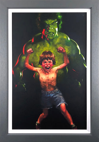 Incredible Hulk, the hulk, Bruce Banner, Lou ferigno, dr banner, movie, movies, child, childhood, anger, management, role play, art, artwork, painting, print, limited edition, artist, Craig Davison