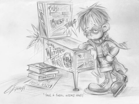 You're A Pinball Wizard Harry Original Sketch by Craig Everett *NEW*