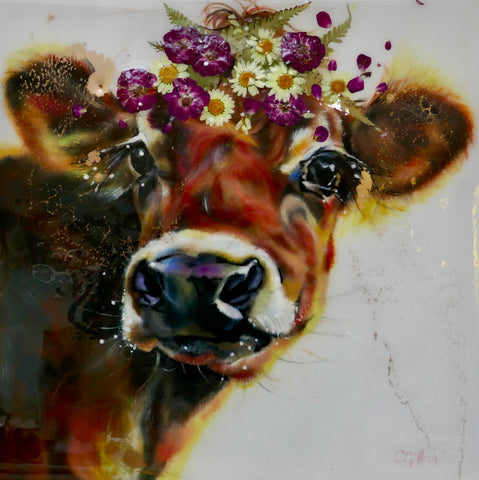 Winterberry Original by Carol Gillan *NEW*-Original Art-The Acorn Gallery-Carol-Gillan-bovine-artist-cows-artwork-The Acorn Gallery