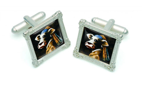 Cow With The Pearl Earring Cufflinks by Caroline Shotton