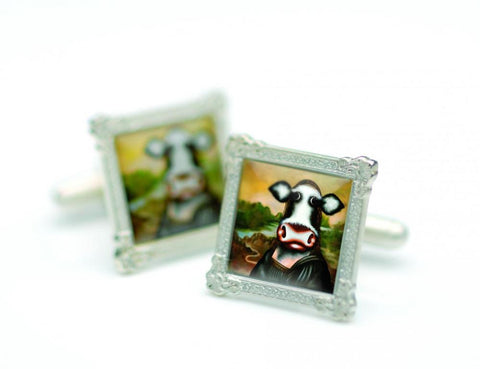 Moona Lisa Cufflinks by Caroline Shotton