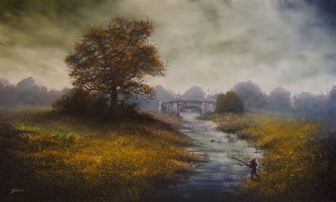 Fishing For Tiddlers On Pocklington Canal Original by Danny Abrahams *SOLD*