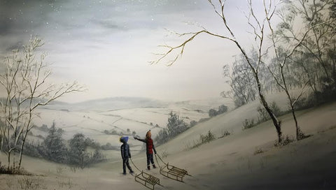 Lets Go Sledging Original by Danny Abrahams *SOLD*