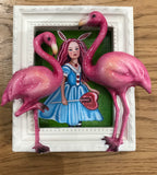 Alice In The Flamingo Garden Original by Marie Louise Wrightson *SOLD*