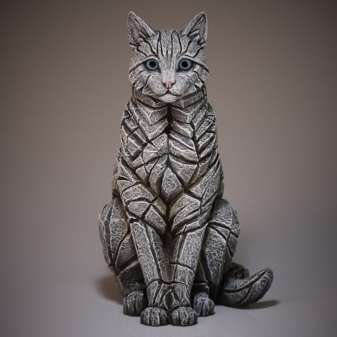 White Sitting Cat by Edge Sculpture