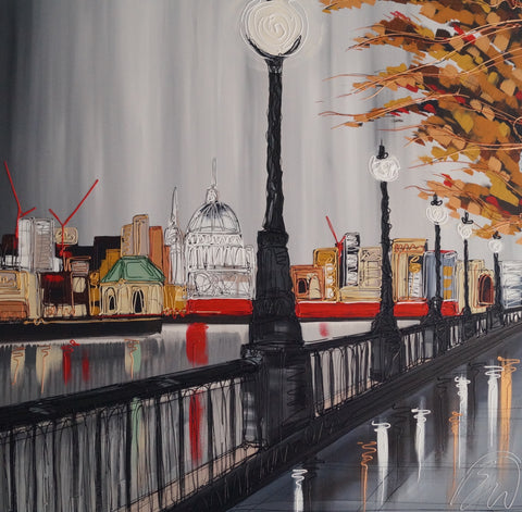 Stroll Along The Thames Original by Edward Waite *SOLD*