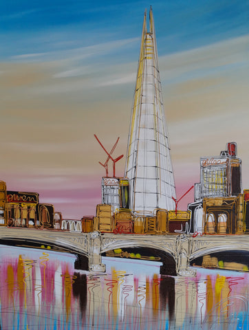 Bright Skies Around The Shard Original by Edward Waite *SOLD*
