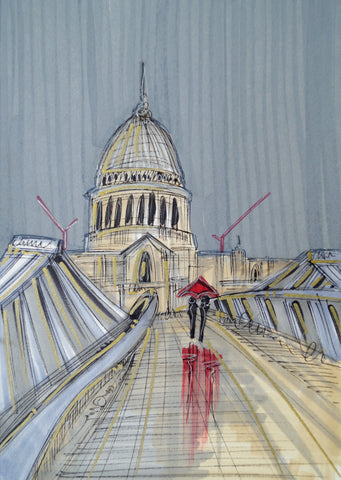 A Silver Stroll Over Millenium Bridge Original Sketch by Edward Waite *SOLD*