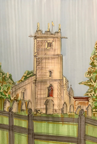 All Saints Church Sketch Original by Edward Waite *SOLD*