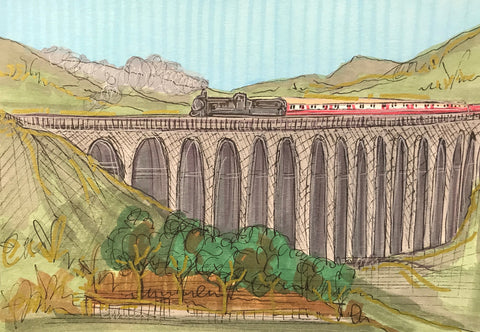 Ribblehead Viaduct Original Sketch by Edward Waite