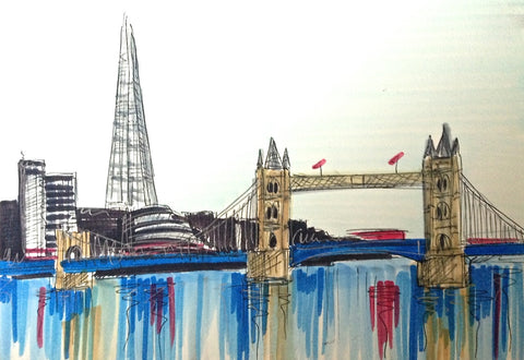 The Shard And Tower Bridge Original Sketch by Edward Waite *SOLD*