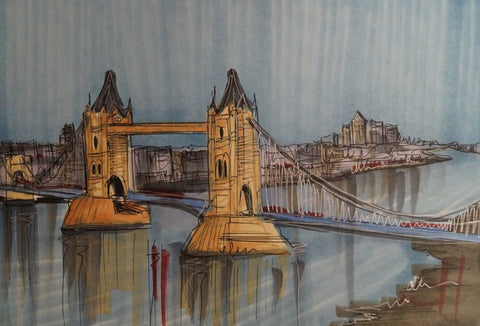 Thames Tower Bridge Original Sketch by Edward Waite