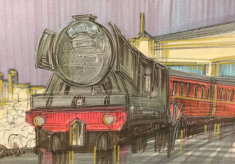 The Flying Scotsman Original Sketch by Edward Waite