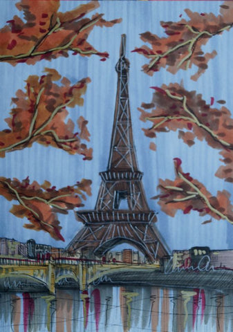Through The Trees To The Eiffel Tower Original Sketch by Edward Waite *SOLD*