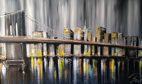 View Over Brooklyn Bridge Original by Edward Waite *SOLD*