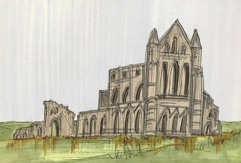 Whitby Abbey Original Sketch by Edward Waite