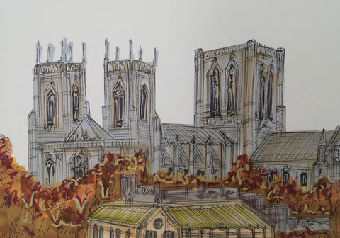 Views Over York Original Sketch by Edward Waite *SOLD*