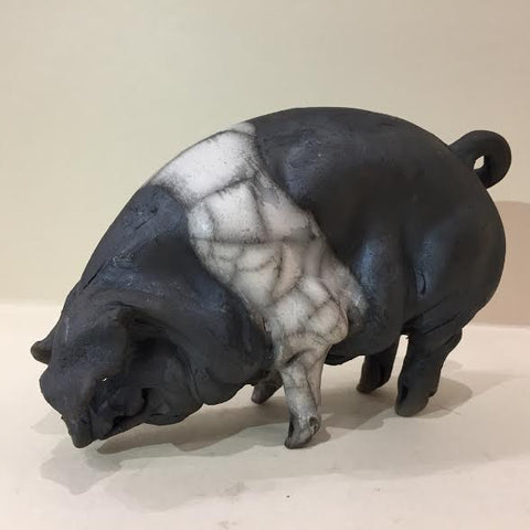 Felicity Ceramic Saddleback Pig Original by Christine Cummings *SOLD*