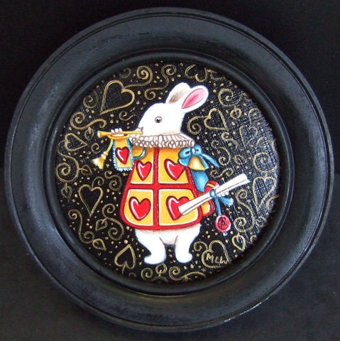 Herald The White Rabbit Original by Marie Louise Wrightson *SOLD*-Original Art-Marie-Louise-Wrightson-The Acorn Gallery