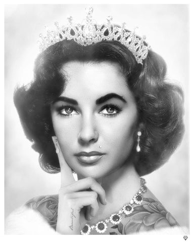 Elizabeth Taylor (Black And White) by JJ Adams