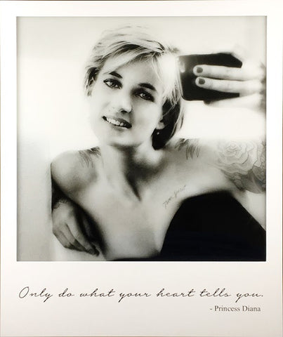 princess diana, lady diana, selfie, art, artwork, lightbox, wifi, electric, only do what your heart tells you, quote, JJ Adams, tattoos,