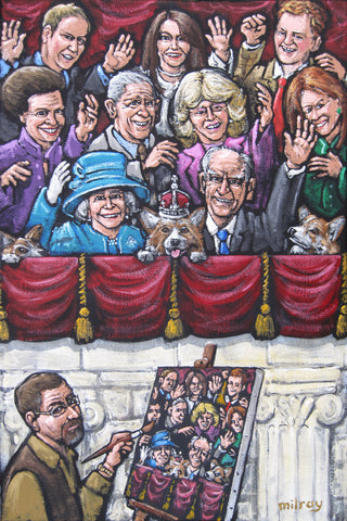 James Painting The Royals Waving Original by James Milroy *SOLD*