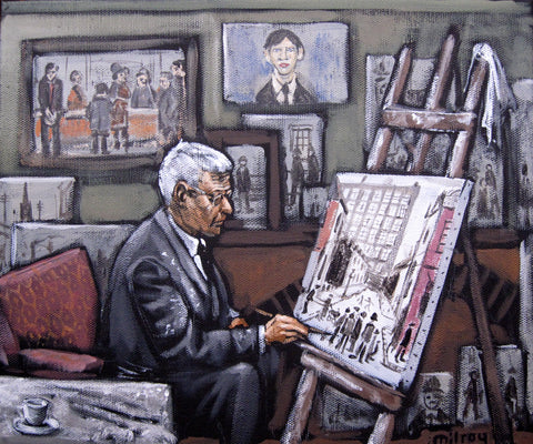 Lowry In The Studio Seated by James Milroy