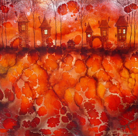 Through The Village Red Original by Kerry Darlington *SOLD*
