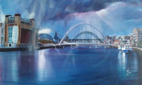 Tyne Bridges Original by Kevin Day *SOLD*