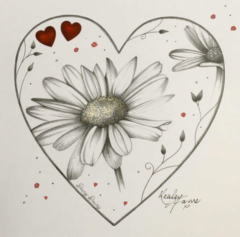 Daisy Daisy Original Sketch by Kealey Farmer *SOLD*-Original Art-The Acorn Gallery-Kealey-Farmer-artist-The Acorn Gallery