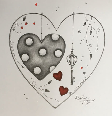 Key To My Heart Original Sketch by Kealey Farmer *SOLD*