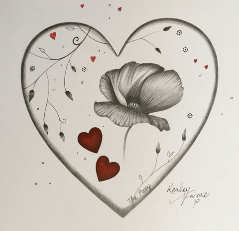 The Poppy Original Sketch by Kealey Farmer *SOLD*-Original Art-The Acorn Gallery-Kealey-Farmer-artist-The Acorn Gallery