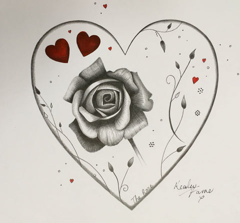 The Rose Original Sketch by Kealey Farmer *SOLD*-Original Art-The Acorn Gallery-Kealey-Farmer-artist-The Acorn Gallery