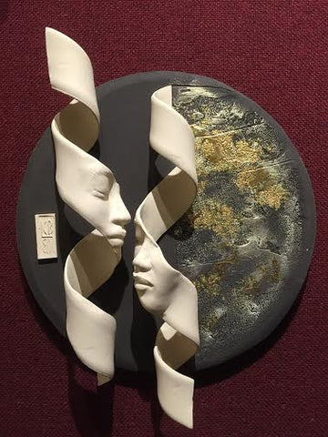 Double Helix On Golden Circle Original Ceramic by Lucinda Brown *SOLD*