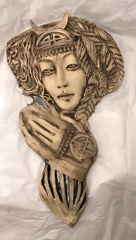 Nadine - Wall Sculpture Original by Lucinda Brown