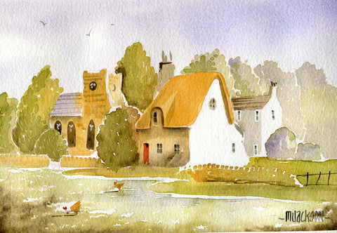 Church Cottage Original by Mike Jackson *SOLD*