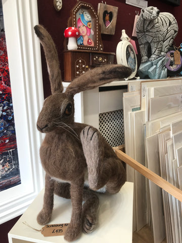 Needlefelt Scratching Hare Original by Maxine Lowery *NEW*