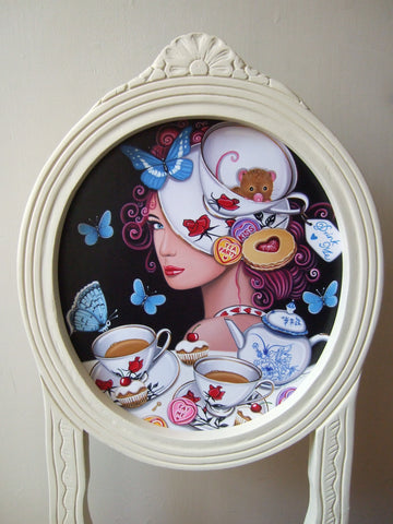 A Chair At The Hatters Tea Party Original by Marie Louise Wrightson *SOLD*