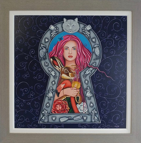 Alice, Wonderland, role play, fantasy, keyhole, through the keyhole, lock, lock and key, pink hair, looking glass, flamingo, Cheshire Cat, hare, mystical world, mythology, art, artwork, painting, original, ML Wrightston, Marie Louise Wrightson, Artist,