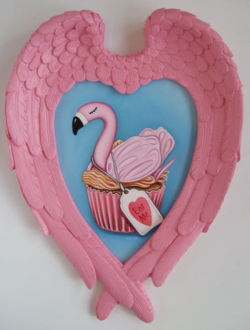 Alice's Flamingo Cupcake Original by Marie Louise Wrightson *NEW*