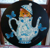 Dormouse In His Teapot Original by Marie Louise Wrightson *SOLD*-Marie-Louise-Wrightson-The Acorn Gallery
