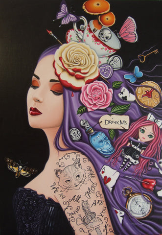 Goth Alice In Wonderland Original by Marie Louise Wrightson *SOLD*
