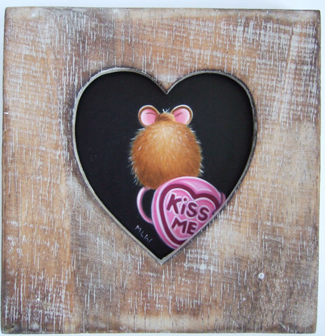 Kiss Me Token Original by Marie Louise Wrightson *SOLD*-Original Art-Marie-Louise-Wrightson-The Acorn Gallery