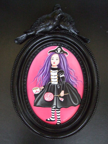Pirate Goth Alice Original by Marie Louise Wrightson-Original Art-Marie-Louise-Wrightson-The Acorn Gallery