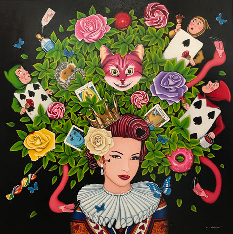 Queen of Hearts and Lollies Original by Marie Louise Wrightson *SOLD*-Original Art-Marie-Louise-Wrightson-The Acorn Gallery