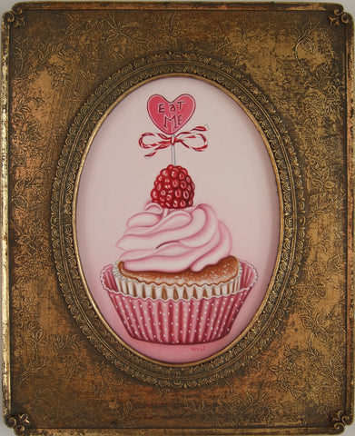 Raspberries And Cream Cupcake Original by Marie Louise Wrightson *SOLD*-Original Art-Marie-Louise-Wrightson-The Acorn Gallery
