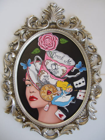 Tea And Treats With Alice Original by Marie Louise Wrightson *SOLD*