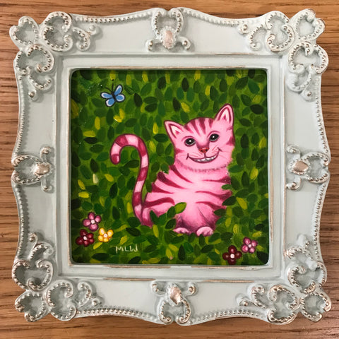 The Cheshire Cat In His Garden Original by Marie Louise Wrightson *SOLD*-Original Art-Marie-Louise-Wrightson-The Acorn Gallery